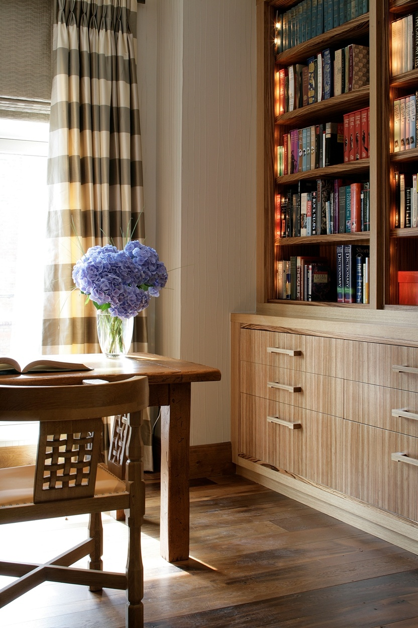 Study with custom bookcases and drawers